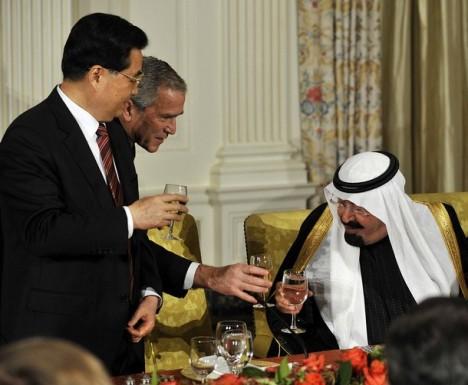 Raja Saudi Abdullah bin Abdul Aziz Dengan George Bush Dan Presiden Cina Hu Jianto