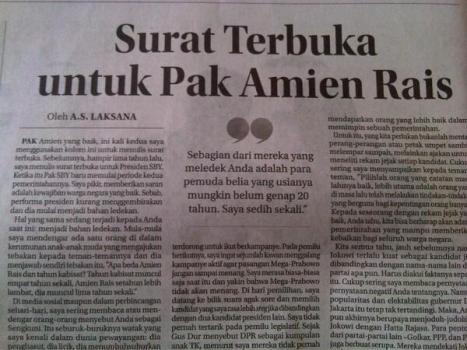 surat terbuka untuk Amien
