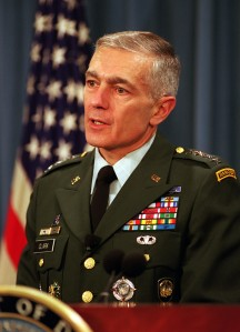 991209-D-9880W-022 Supreme Allied Commander Europe Gen. Wesley Clark, U.S. Army, briefs reporters on the status of the NATO-led, international peacekeeping operation in Bosnia and Herzegovina at the Pentagon on Dec. 9, 1999.  The first U.S. peacekeepers entered the war-ravaged country five years ago this month in an effort to stop the ethnic killings and prevent further deterioration of the region's infrastructure.  DoD photo by R. D. Ward.  (Released)